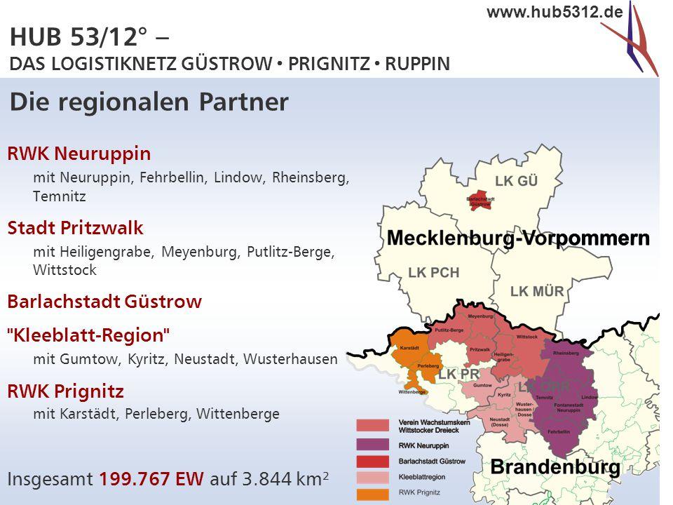 HUB 53/12° – DAS LOGISTIKNETZ GÜSTROW  PRIGNITZ  RUPPIN www.hub5312.de Das Projekt HUB 53/12°  HUB 53/12° = Koordinaten der Region  Entwicklung als Standort für Logistik- dienstleistungen  landkreis- und länderübergreifende kommunale Initiative zur Bünde- lung der regionalen Stärken  Bottom up-Ansatz : aus der Region auf die europäische Ebene  Gutes Beispiel für Glokalisation : lokale Vision trifft globale Perspektive.