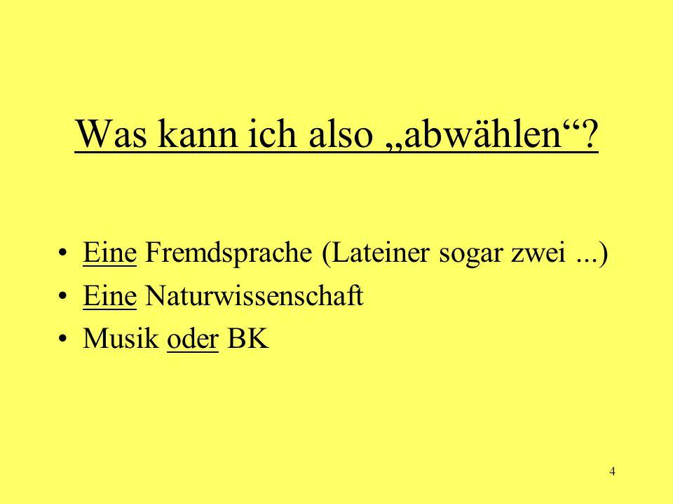 """4 Was kann ich also """"abwählen""""? Eine Fremdsprache (Lateiner sogar zwei...) Eine Naturwissenschaft Musik oder BK"""