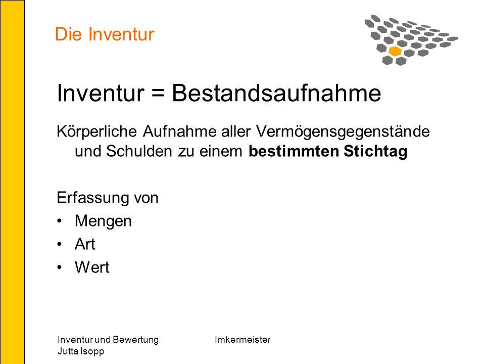 Inventur und Bewertung Jutta Isopp Imkermeister Nebenkosten Nebenkosten zum Erwerb und Inbetriebnahme können berücksichtigt werden.