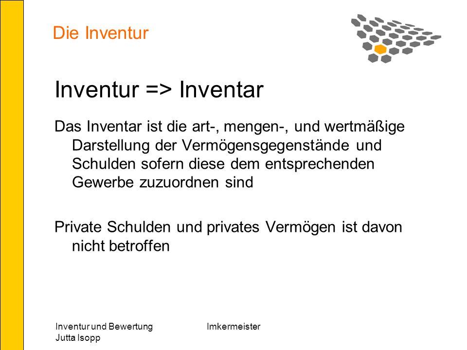 Inventur und Bewertung Jutta Isopp Imkermeister Die Inventur Die Erstellung der Inventur und des Inventarverzeichnisses hat der Form nach einer ordnungsgemäßen Inventur zu entsprechen – insbesondere betrifft dies auch die Bewertungsgrundsätze des §201 HGB.