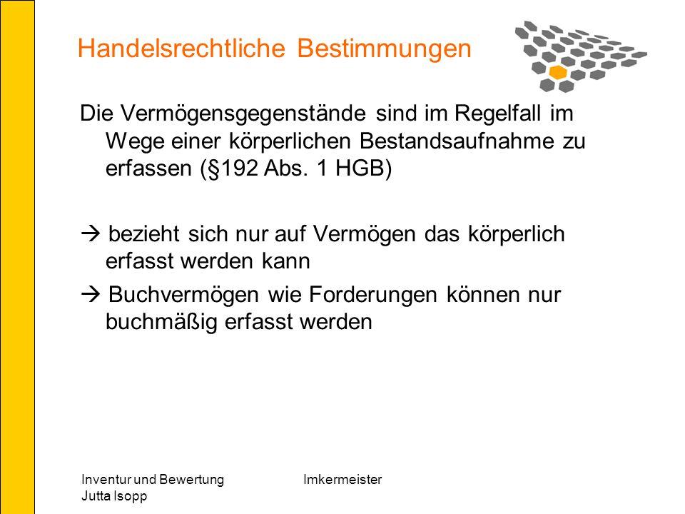 Inventur und Bewertung Jutta Isopp Imkermeister Lagerbestand Anfangsbestand an unfertigen und fertigen Erzeugnissen - Endbestand an unfertigen und fertigen Erzeugnissen Bestandsveränderung + Lagerstand aufgebaut - Lagerstand abgebaut