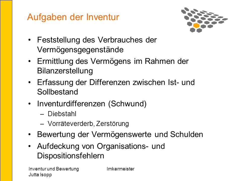 Inventur und Bewertung Jutta Isopp Imkermeister Gebäude Reduktion - Wertminderung Alter bis 1/4 der Gesamtnutzungsdauer – Reduktion um um 10 % Alter von 1/4 bis 1/2 der Gesamtnutzungsdauer Reduktion um 20 % Alter über 1/2 der Gesamtnutzungsdauer Reduktion um 33 %