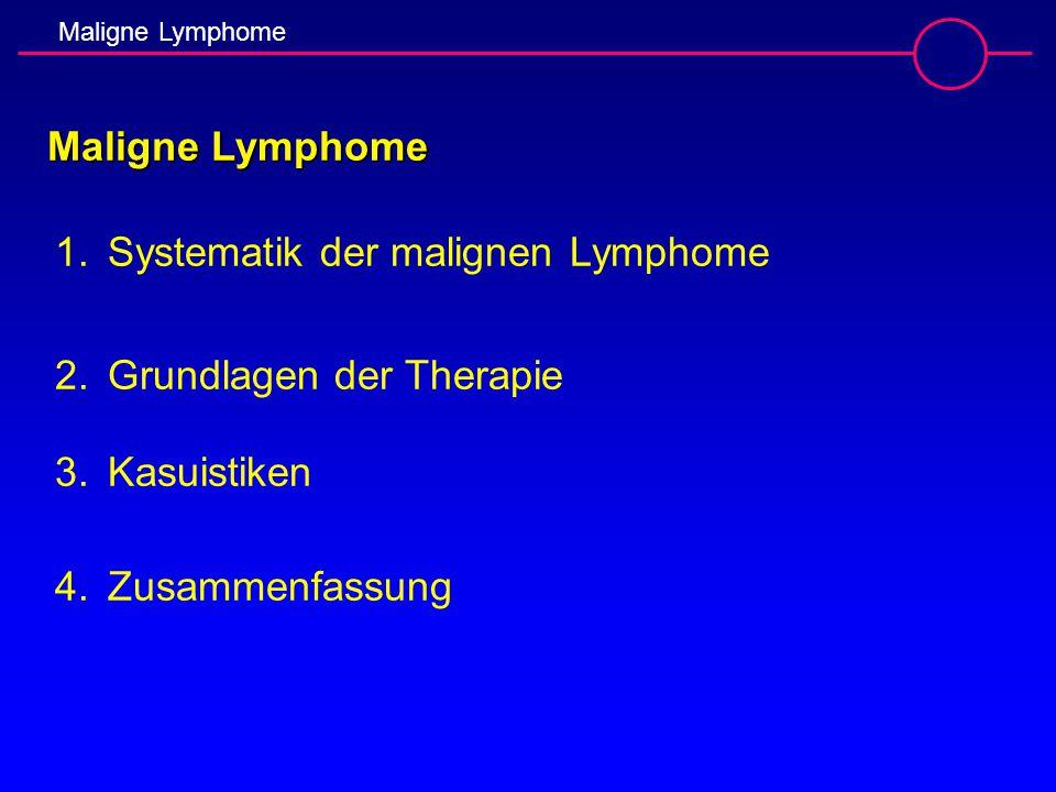 1.Systematik der malignen Lymphome 2.Grundlagen der Therapie 3.Kasuistiken 4.Zusammenfassung