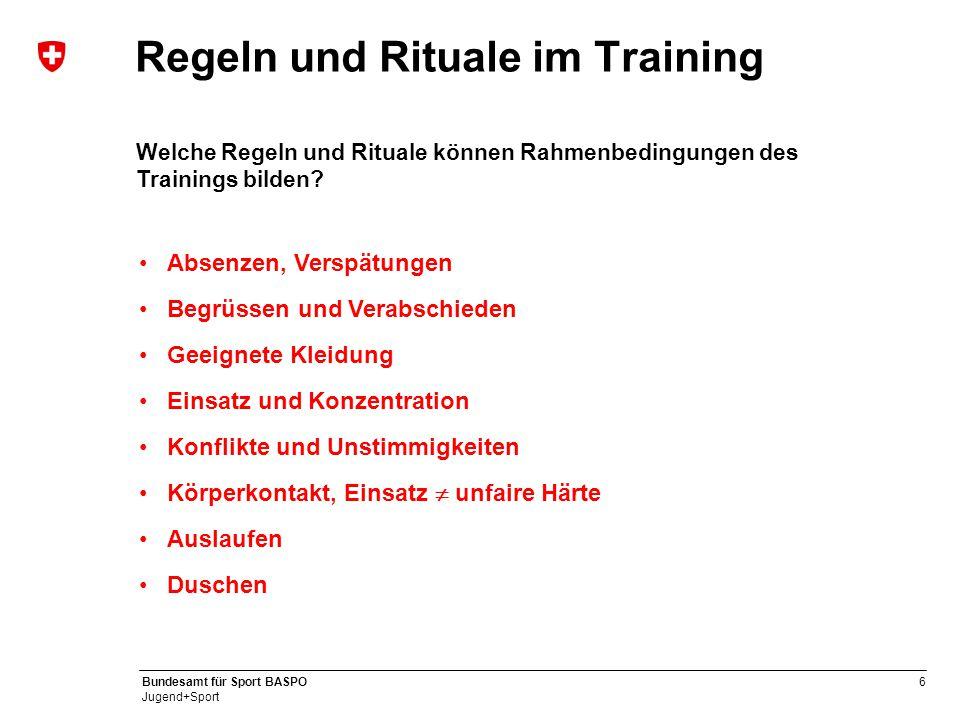 6 Bundesamt für Sport BASPO Jugend+Sport Regeln und Rituale im Training Welche Regeln und Rituale können Rahmenbedingungen des Trainings bilden? Absen