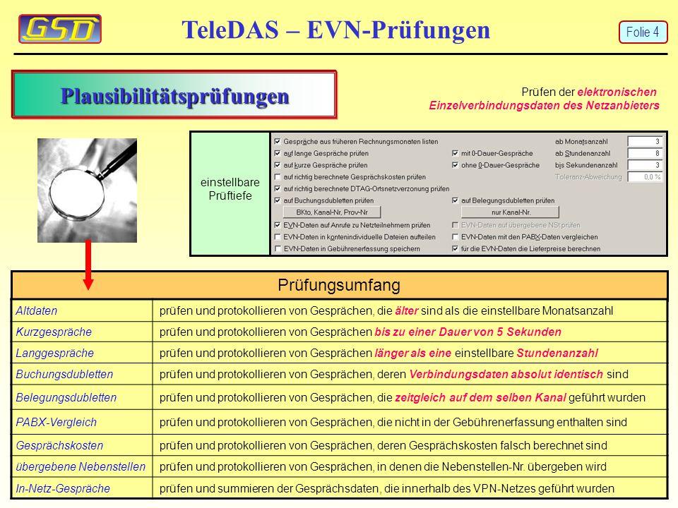 TeleDAS – EVN-Prüfungen Prüfungsumfang Altdatenprüfen und protokollieren von Gesprächen, die älter sind als die einstellbare Monatsanzahl Kurzgespräch
