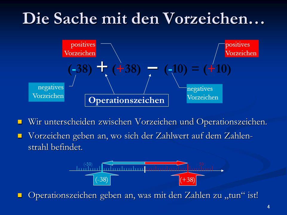 4 Die Sache mit den Vorzeichen… Wir unterscheiden zwischen Vorzeichen und Operationszeichen. Wir unterscheiden zwischen Vorzeichen und Operationszeich