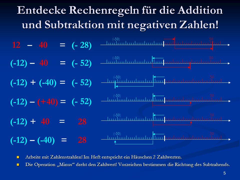 5 Entdecke Rechenregeln für die Addition und Subtraktion mit negativen Zahlen! Arbeite mit Zahlenstrahlen! Im Heft entspricht ein Häuschen 2 Zahlwerte