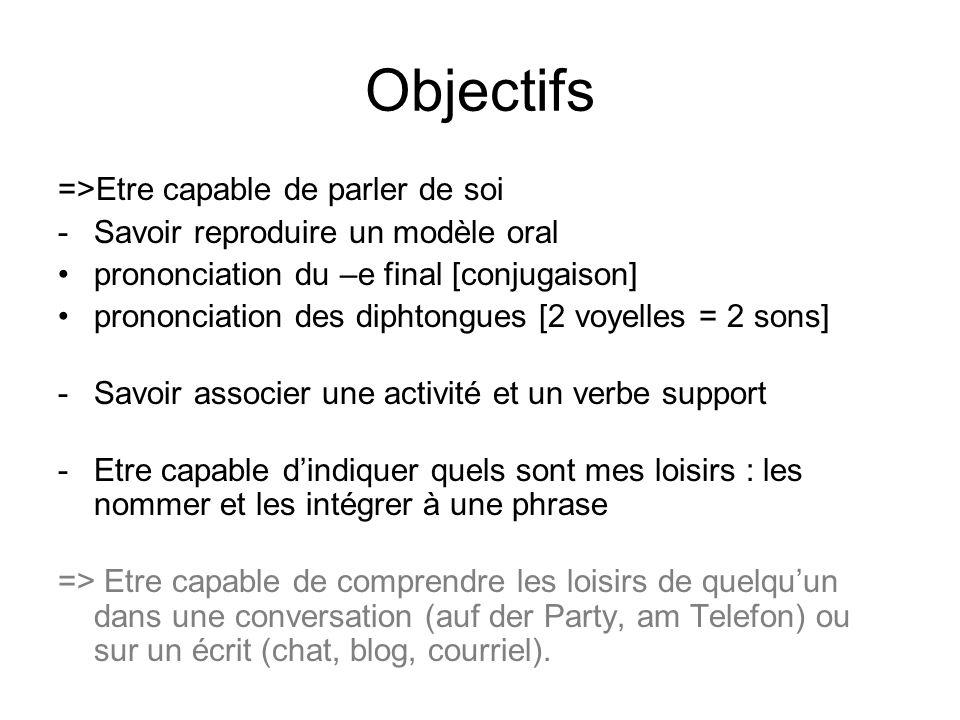Objectifs =>Etre capable de parler de soi -Savoir reproduire un modèle oral prononciation du –e final [conjugaison] prononciation des diphtongues [2 voyelles = 2 sons] -Savoir associer une activité et un verbe support -Etre capable d'indiquer quels sont mes loisirs : les nommer et les intégrer à une phrase => Etre capable de comprendre les loisirs de quelqu'un dans une conversation (auf der Party, am Telefon) ou sur un écrit (chat, blog, courriel).
