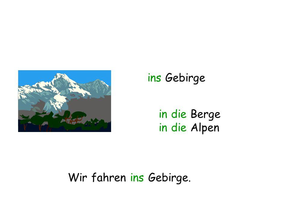 ins Gebirge in die Berge in die Alpen Wir fahren ins Gebirge.
