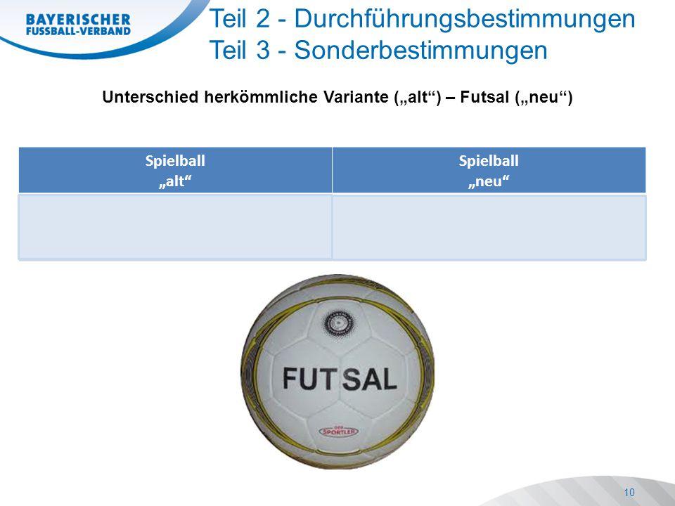 """Spielball """"alt Spielball """"neu Spielball ist frei wählbar, muss aber der jeweiligen Altersklasse entsprechen Der Spielball ist ein Futsalball und muss der jeweiligen Altersklasse entsprechen 10 Teil 2 - Durchführungsbestimmungen Teil 3 - Sonderbestimmungen Unterschied herkömmliche Variante (""""alt ) – Futsal (""""neu )"""