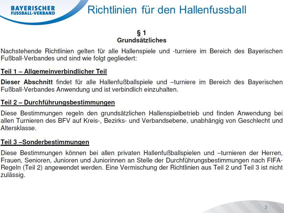 3 Richtlinien für den Hallenfussball