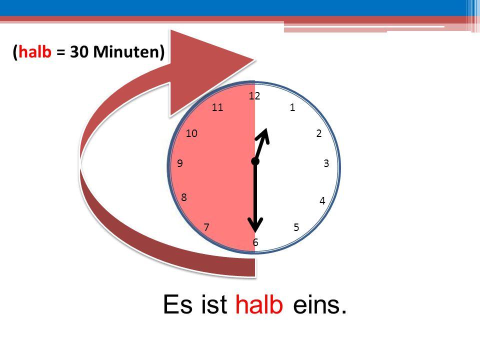 12 6 39 10 111 2 4 57 8 Es ist halb eins. (halb = 30 Minuten)