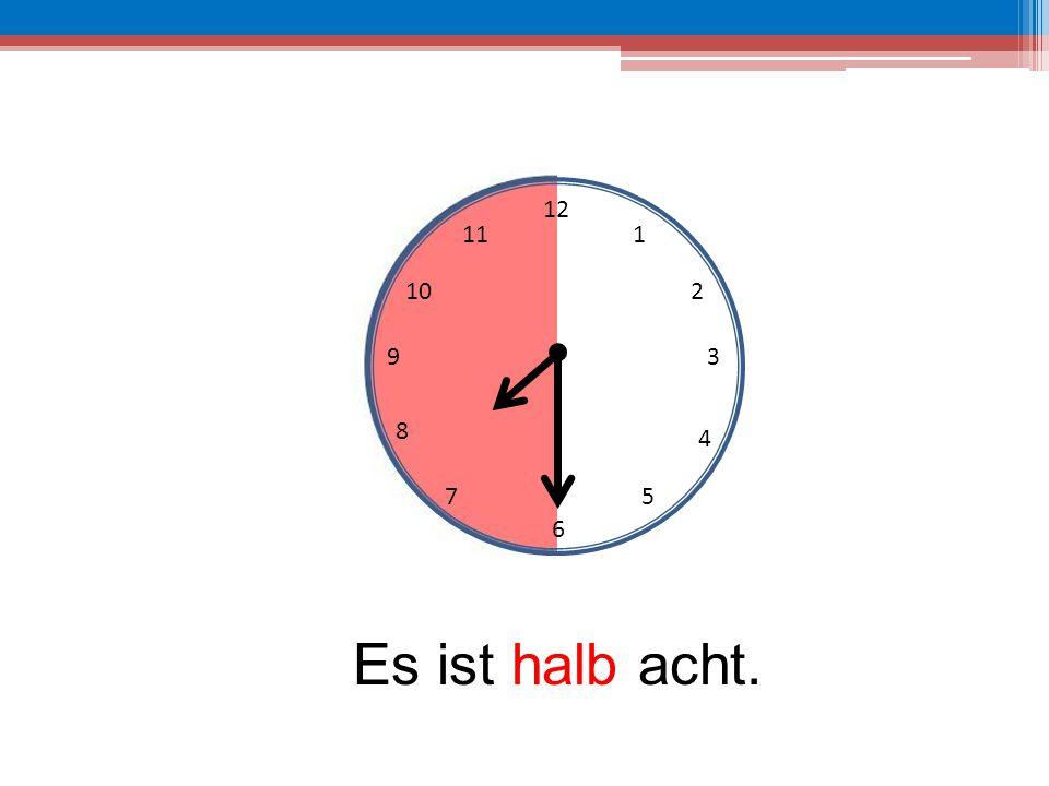 12 6 39 10 111 2 4 57 8 Es ist halb acht.