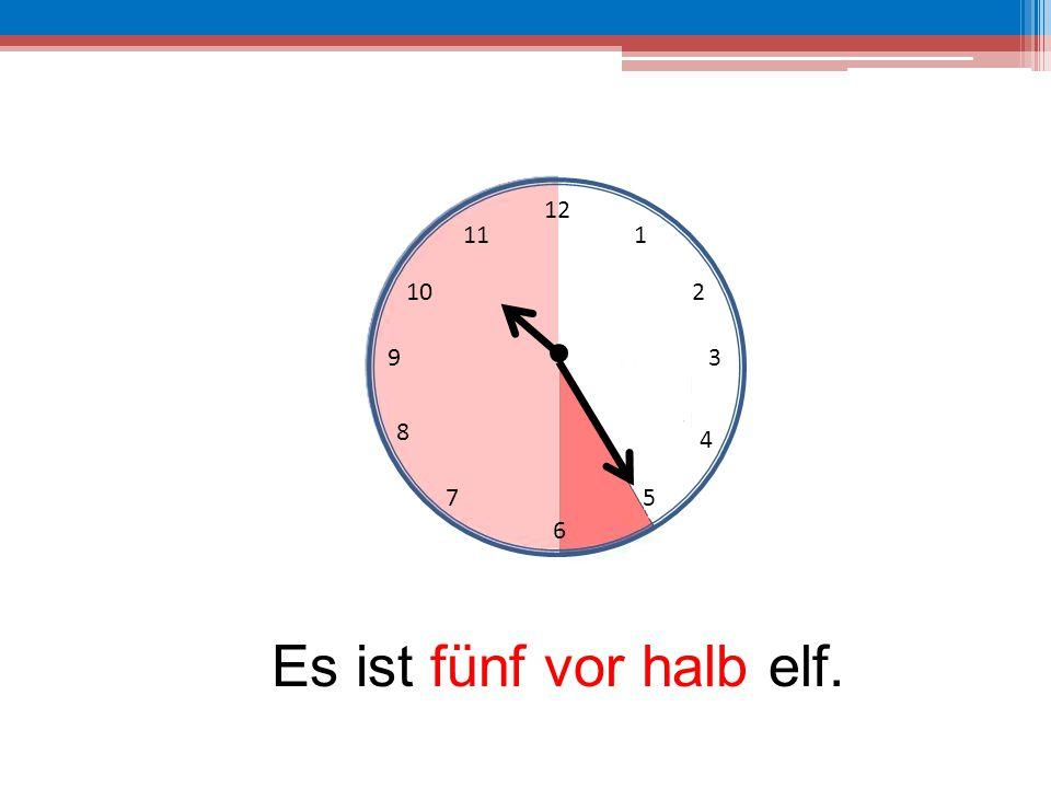 12 6 39 10 111 2 4 57 8 Es ist fünf vor halb elf.