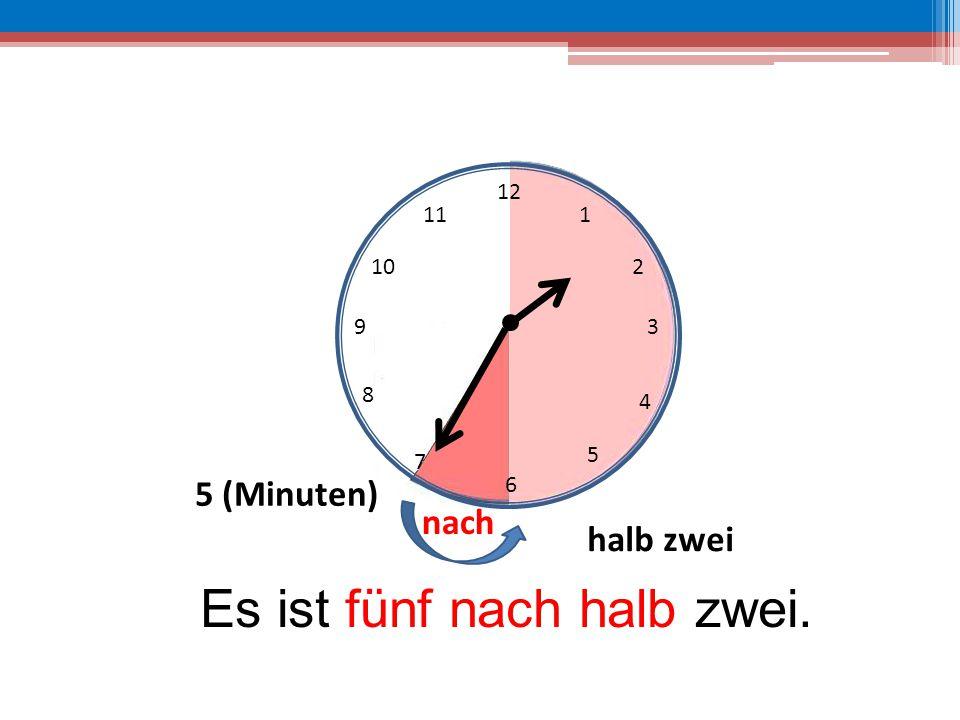 12 6 39 10 111 2 4 5 7 8 Es ist fünf nach halb zwei. 5 (Minuten) halb zwei nach