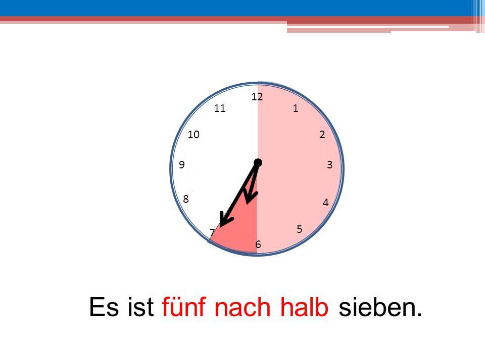 12 6 39 10 111 2 4 5 7 8 Es ist fünf nach halb sieben.