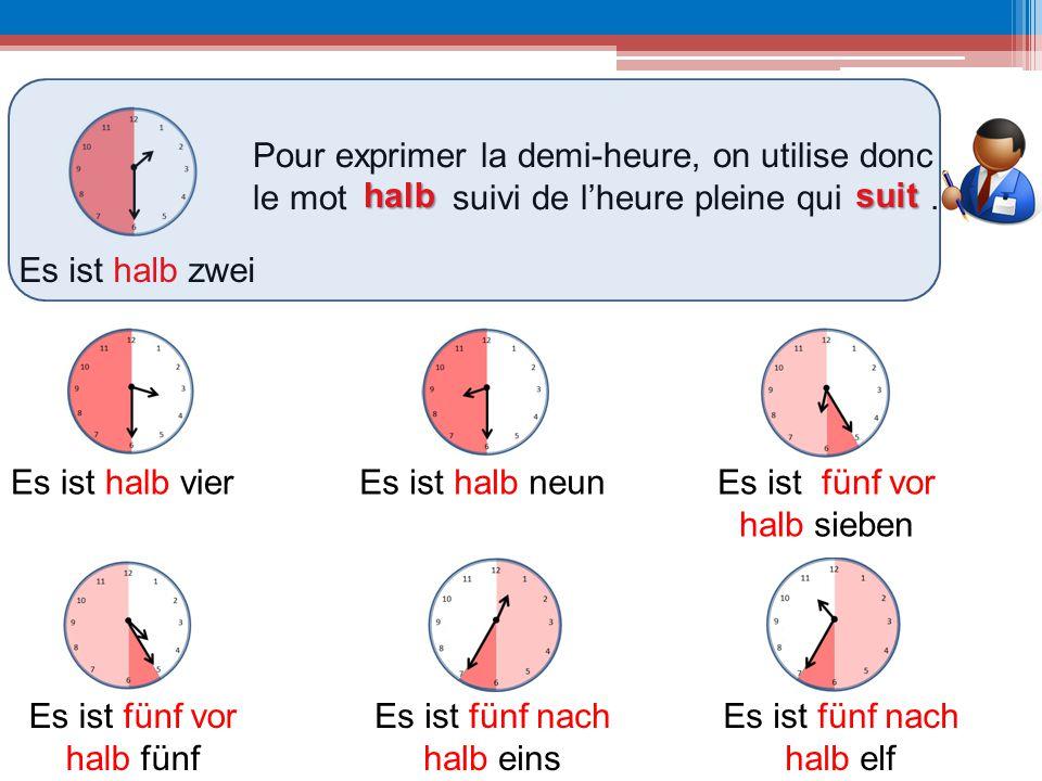 Es ist halb zwei Es ist halb vier Pour exprimer la demi-heure, on utilise donc le mot suivi de l'heure pleine qui. halbsuit Es ist halb neunEs ist fün