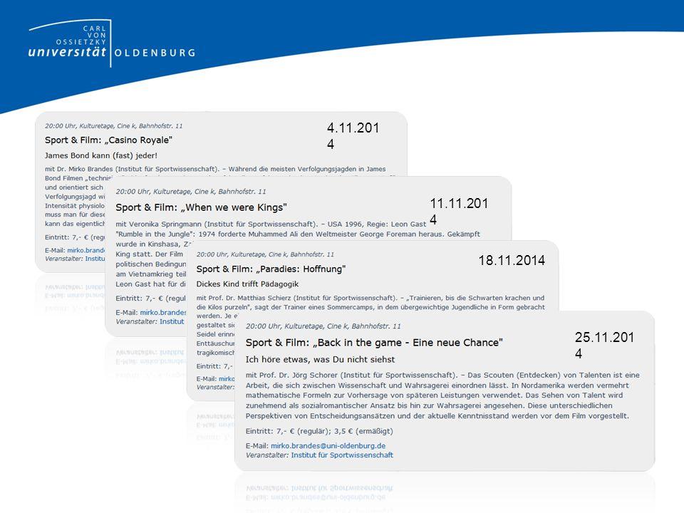 Institut für Sportwissenschaft spo110 (2 Seminare) Berufswissenschaftliche Grundlagen der Sportwissenschaft 2 Seminare + Tutorien Anmeldung über StudIP ab dem 16.10.