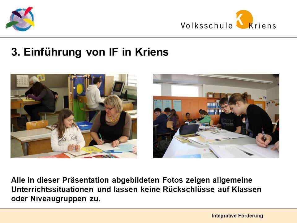 Integrative Förderung 3. Einführung von IF in Kriens Alle in dieser Präsentation abgebildeten Fotos zeigen allgemeine Unterrichtssituationen und lasse
