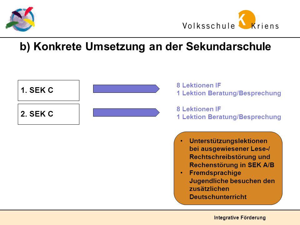 Integrative Förderung b) Konkrete Umsetzung an der Sekundarschule 1. SEK C 8 Lektionen IF 1 Lektion Beratung/Besprechung Unterstützungslektionen bei a