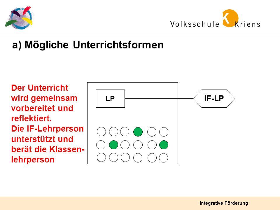 Integrative Förderung a) Mögliche Unterrichtsformen Der Unterricht wird gemeinsam vorbereitet und reflektiert. Die IF-Lehrperson unterstützt und berät