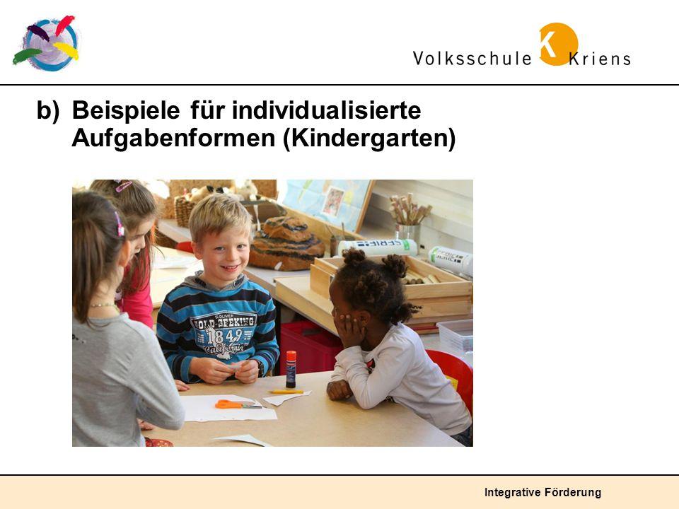 Integrative Förderung b) Beispiele für individualisierte Aufgabenformen (Kindergarten)