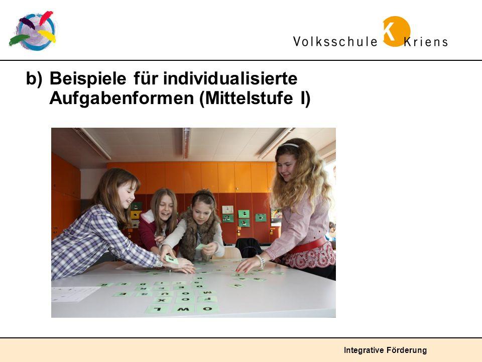 b) Beispiele für individualisierte Aufgabenformen (Mittelstufe I)
