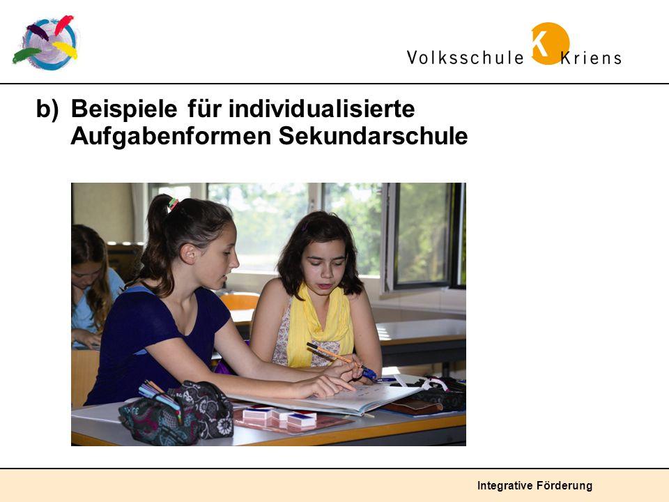 b) Beispiele für individualisierte Aufgabenformen Sekundarschule
