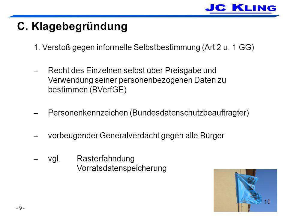 10 C. Klagebegründung 1. Verstoß gegen informelle Selbstbestimmung (Art 2 u. 1 GG) –Recht des Einzelnen selbst über Preisgabe und Verwendung seiner pe