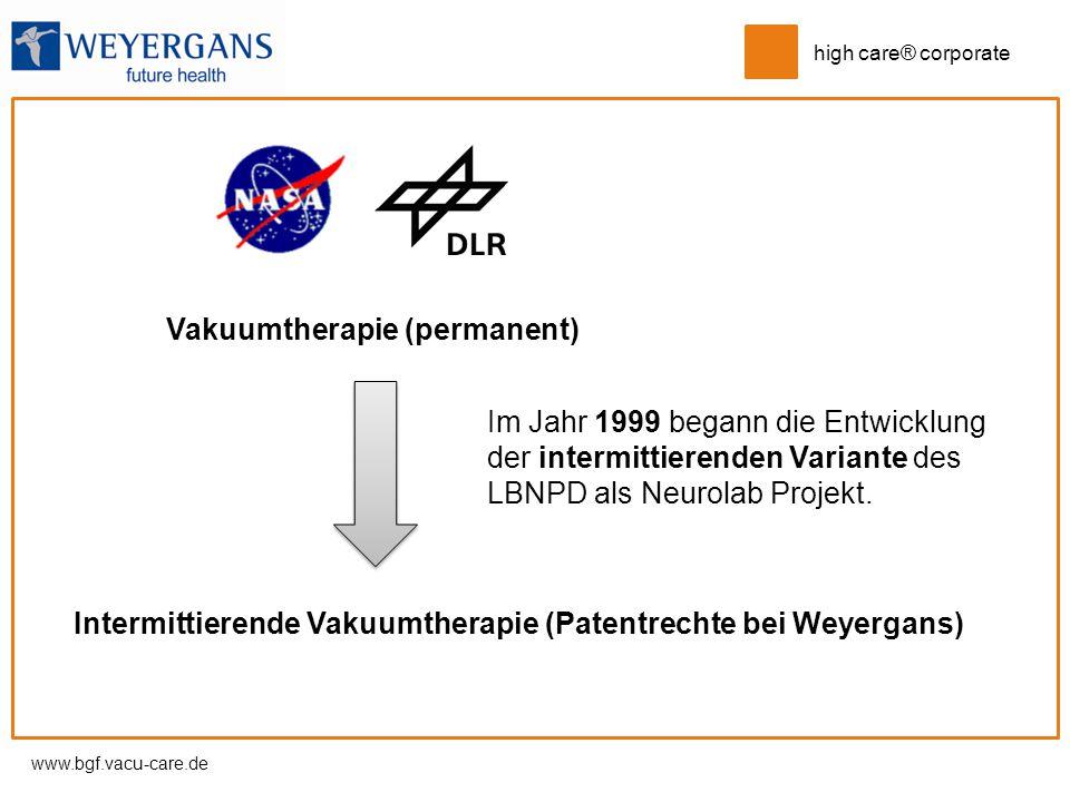 www.bgf.vacu-care.de high care® corporate Vakuumtherapie (permanent) Intermittierende Vakuumtherapie (Patentrechte bei Weyergans) Im Jahr 1999 begann