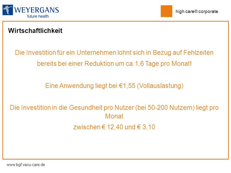 www.bgf.vacu-care.de high care® corporate Wirtschaftlichkeit Die Investition für ein Unternehmen lohnt sich in Bezug auf Fehlzeiten bereits bei einer