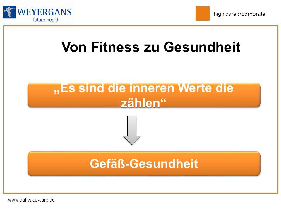 """www.bgf.vacu-care.de high care® corporate Von Fitness zu Gesundheit """"Es sind die inneren Werte die zählen"""" Gefäß-Gesundheit"""