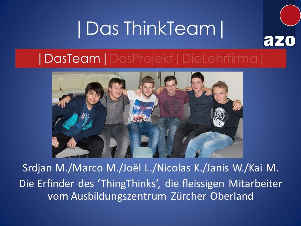 |Das ThinkTeam| |DasTeam|DasProjekt|DieLehrfirma| Srdjan M./Marco M./Joël L./Nicolas K./Janis W./Kai M.