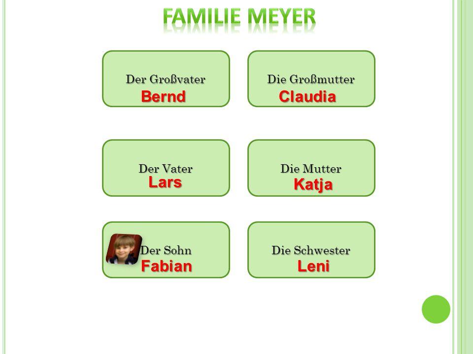 Der Großvater Die Großmutter Die Mutter Der Vater Die Schwester BerndClaudia Lars Katja Leni Der Sohn Fabian