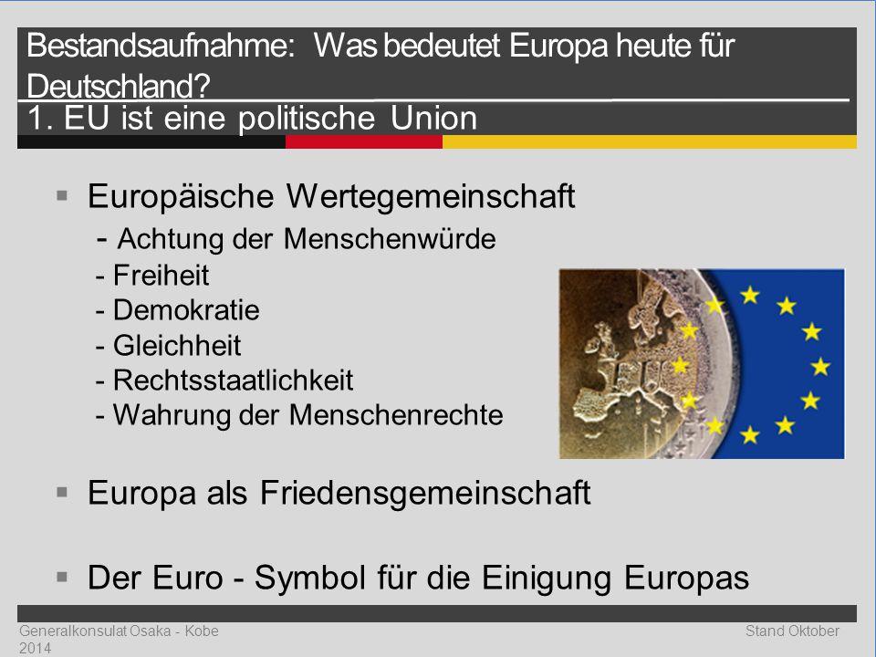 Generalkonsulat Osaka - Kobe Stand Oktober 2014  Europäische Wertegemeinschaft - Achtung der Menschenwürde - Freiheit - Demokratie - Gleichheit - Rechtsstaatlichkeit - Wahrung der Menschenrechte  Europa als Friedensgemeinschaft  Der Euro - Symbol für die Einigung Europas Bestandsaufnahme: Was bedeutet Europa heute für Deutschland.