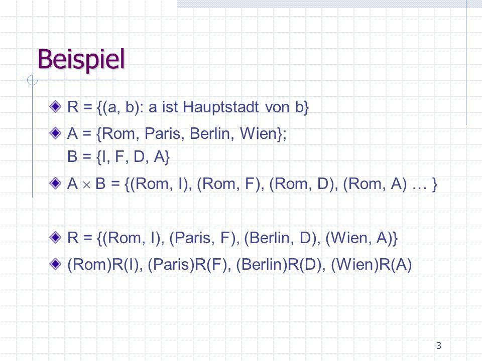3 Beispiel R = {(a, b): a ist Hauptstadt von b} A = {Rom, Paris, Berlin, Wien}; B = {I, F, D, A} A  B = {(Rom, I), (Rom, F), (Rom, D), (Rom, A) … } R