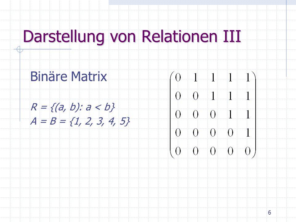 7 Eigenschaften von Relationen ReflexivitätaRa für alle a, b, c  A Irreflexivität  aRa Symmetrie aRb  bRa Asymmetrie aRb   bRa Antisymmetrie aRb  bRa  a=b Transitivität aRb  bRc  aRc Neg.