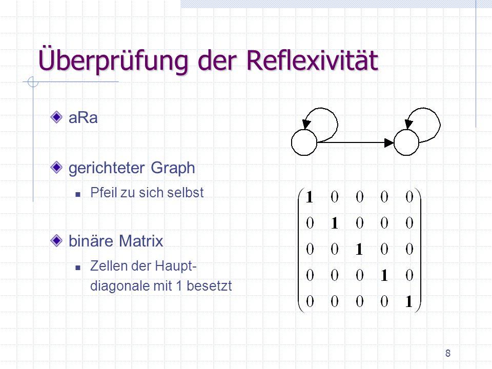 8 Überprüfung der Reflexivität aRa gerichteter Graph Pfeil zu sich selbst binäre Matrix Zellen der Haupt- diagonale mit 1 besetzt