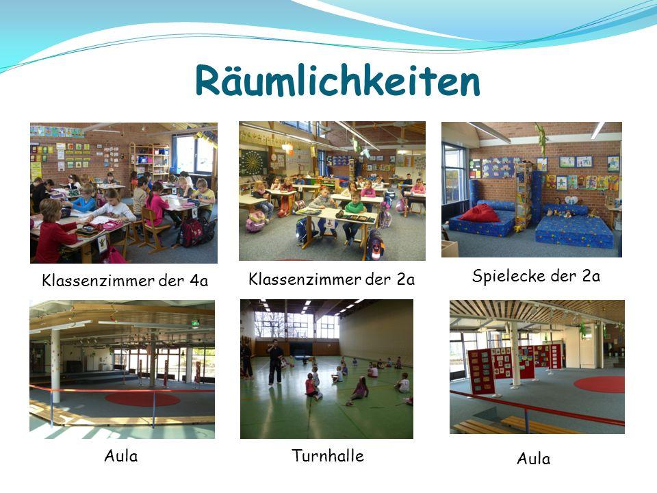 Klassenzimmer der 4a Räumlichkeiten Aula Turnhalle Aula Klassenzimmer der 2a Spielecke der 2a