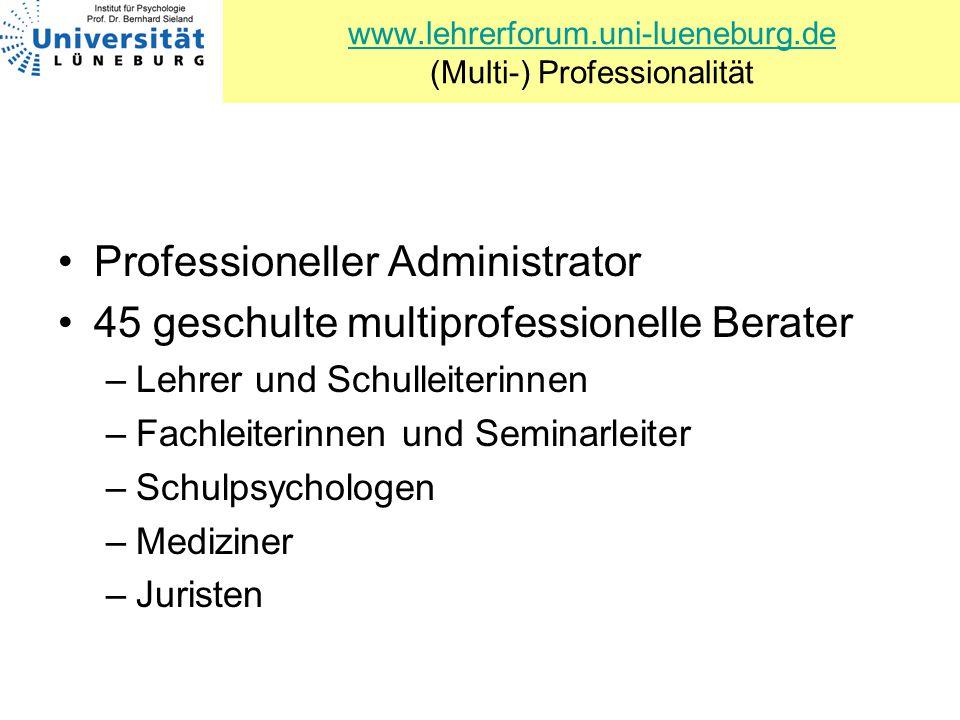 www.lehrerforum.uni-lueneburg.de www.lehrerforum.uni-lueneburg.de (Multi-) Professionalität Professioneller Administrator 45 geschulte multiprofession