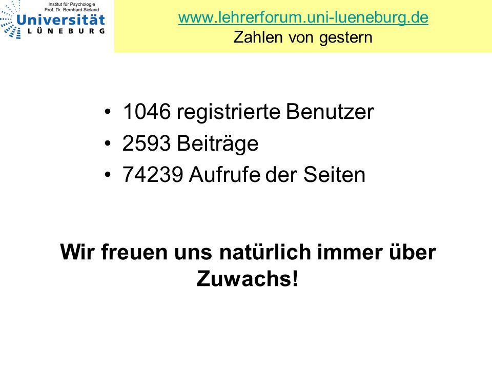 www.lehrerforum.uni-lueneburg.de www.lehrerforum.uni-lueneburg.de Zahlen von gestern 1046 registrierte Benutzer 2593 Beiträge 74239 Aufrufe der Seiten
