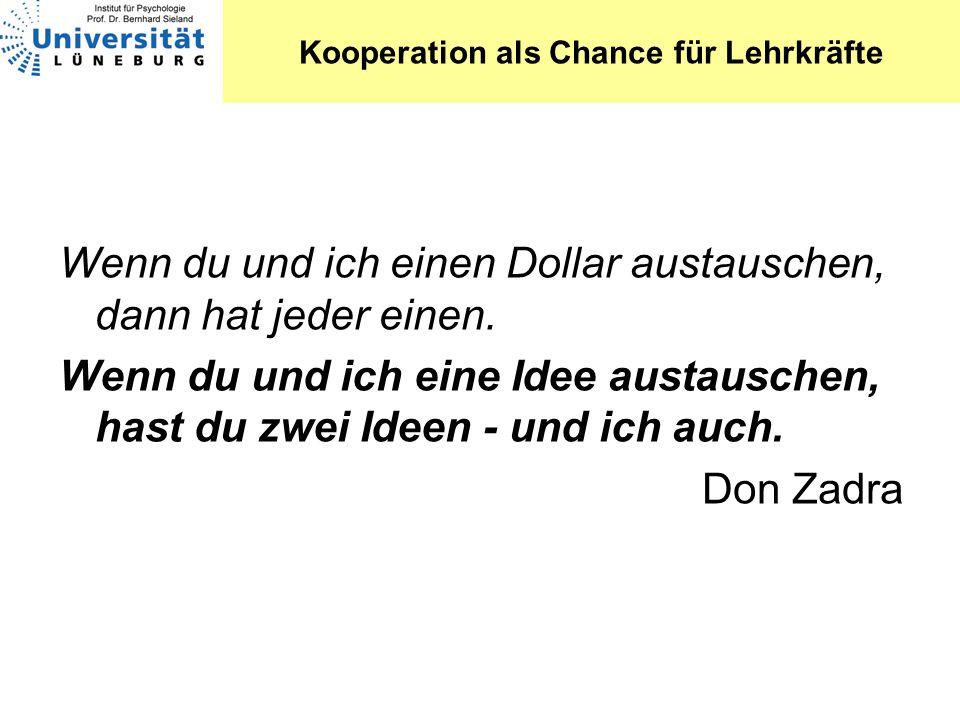 Kooperation als Chance für Lehrkräfte Wenn du und ich einen Dollar austauschen, dann hat jeder einen. Wenn du und ich eine Idee austauschen, hast du z