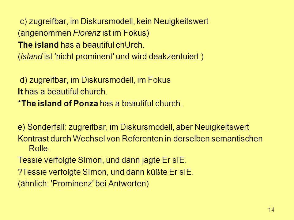 c) zugreifbar, im Diskursmodell, kein Neuigkeitswert (angenommen Florenz ist im Fokus) The island has a beautiful chUrch. (island ist 'nicht prominent