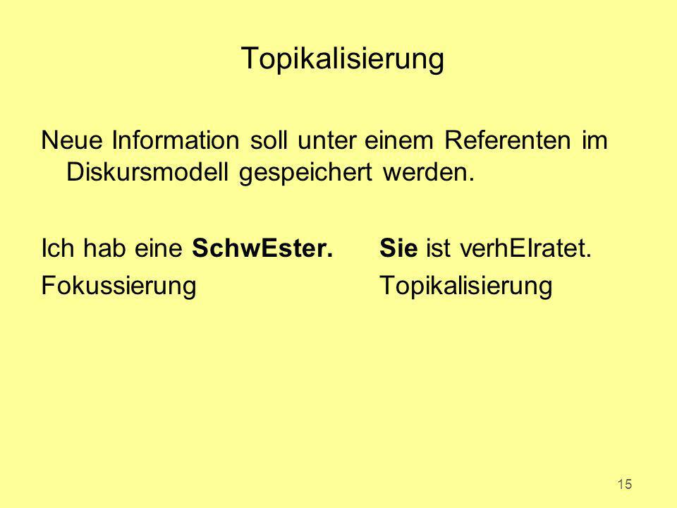 Topikalisierung Neue Information soll unter einem Referenten im Diskursmodell gespeichert werden. Ich hab eine SchwEster.Sie ist verhEIratet. Fokussie