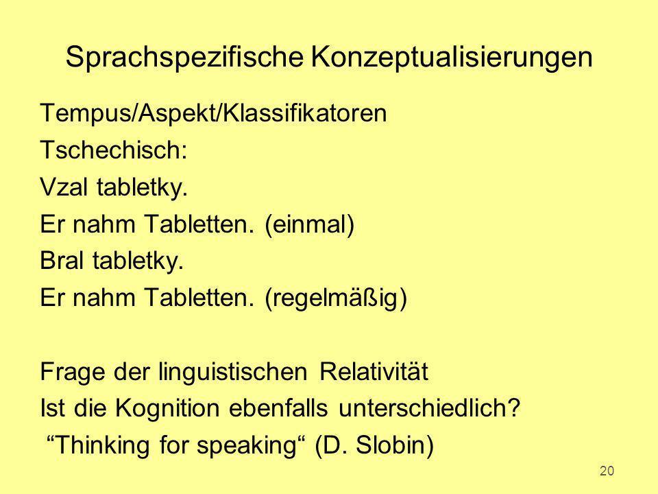Sprachspezifische Konzeptualisierungen Tempus/Aspekt/Klassifikatoren Tschechisch: Vzal tabletky. Er nahm Tabletten. (einmal) Bral tabletky. Er nahm Ta