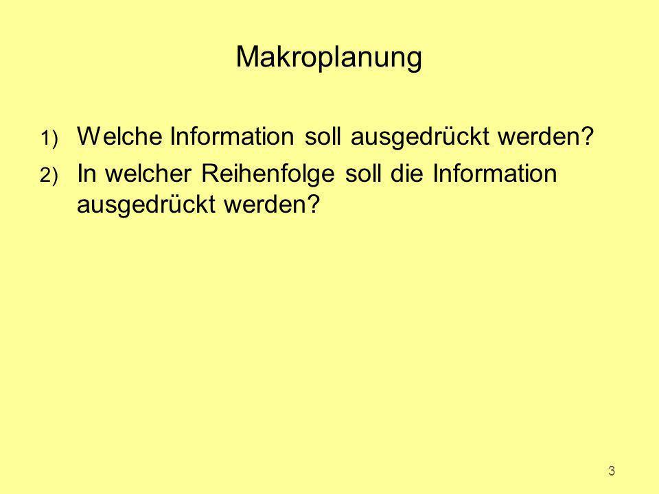 Makroplanung 1) Welche Information soll ausgedrückt werden? 2) In welcher Reihenfolge soll die Information ausgedrückt werden? 3
