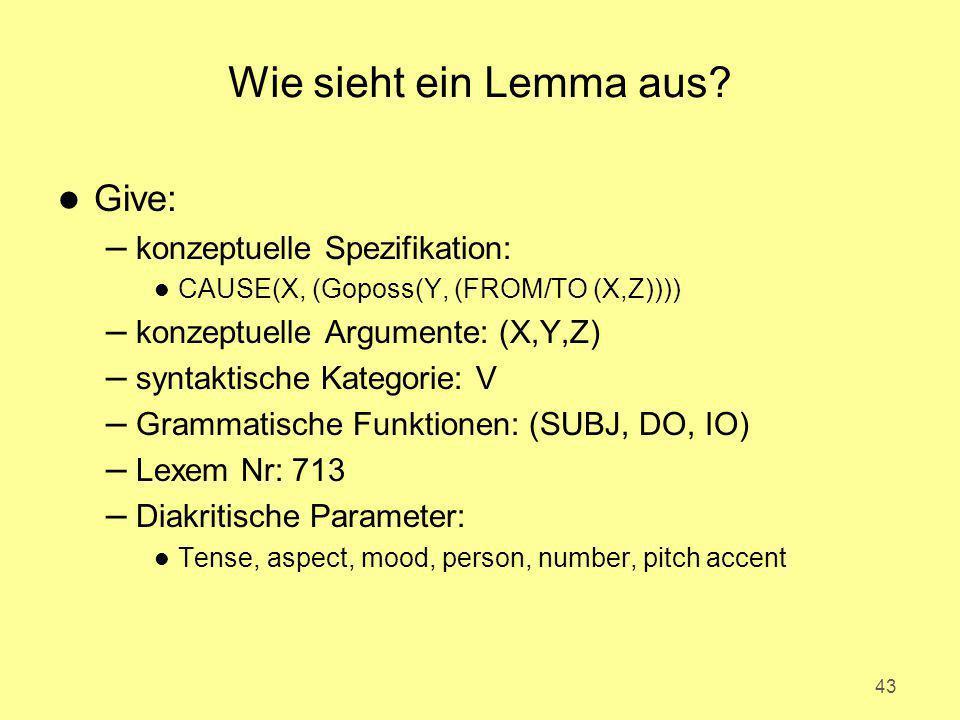 Wie sieht ein Lemma aus? l Give: – konzeptuelle Spezifikation: l CAUSE(X, (Goposs(Y, (FROM/TO (X,Z)))) – konzeptuelle Argumente: (X,Y,Z) – syntaktisch