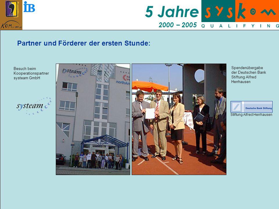 5 Jahre 2000 – 2005 Partner und Förderer der ersten Stunde: Stiftung Alfred Herrhausen Besuch beim Kooperationspartner systeam GmbH Spendenübergabe der Deutschen Bank Stiftung Alfred Herrhausen