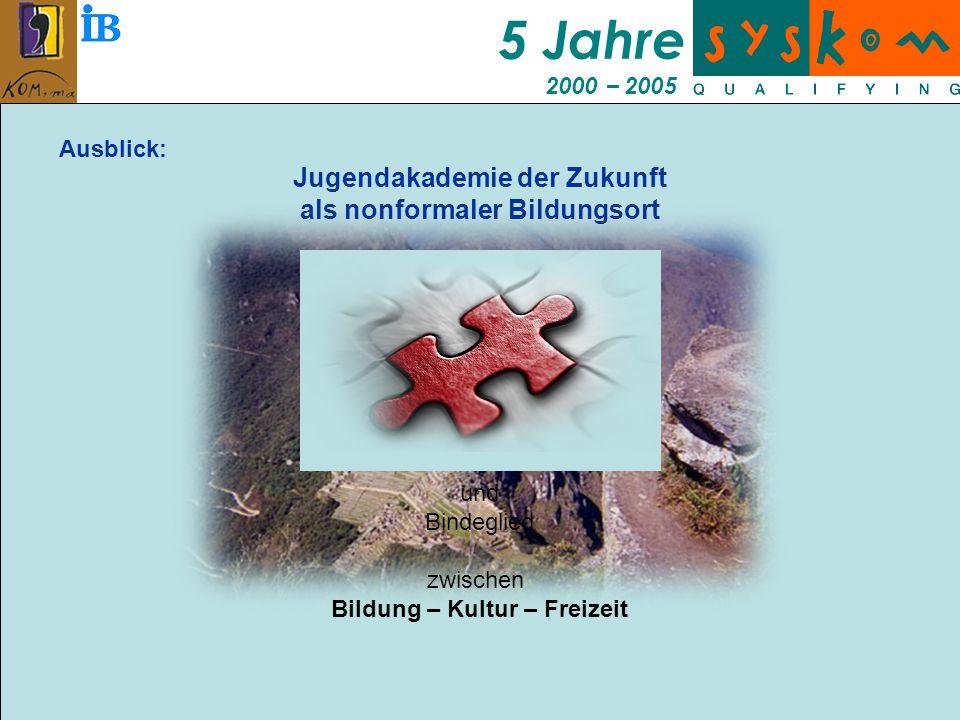 5 Jahre 2000 – 2005 Ausblick: Jugendakademie der Zukunft als nonformaler Bildungsort und Bindeglied zwischen Bildung – Kultur – Freizeit