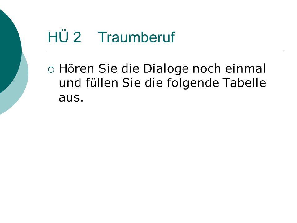 HÜ 2 Traumberuf  H ö ren Sie die Dialoge noch einmal und f ü llen Sie die folgende Tabelle aus.